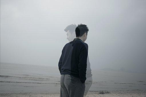 Background, Heavy Exposure, Beach, Dark, Man