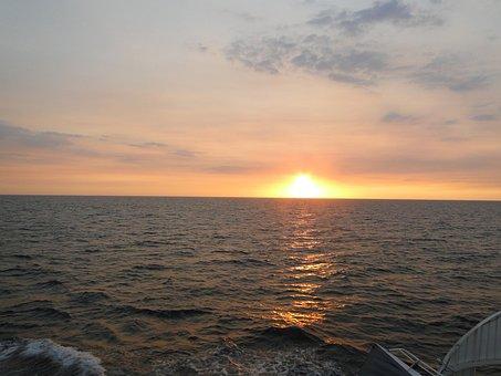 Sunset, Sea, Reflection, Sky, Blaze