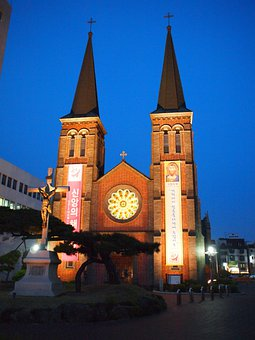 Church, Daegu, Korea, Night, Dome, Cathedral