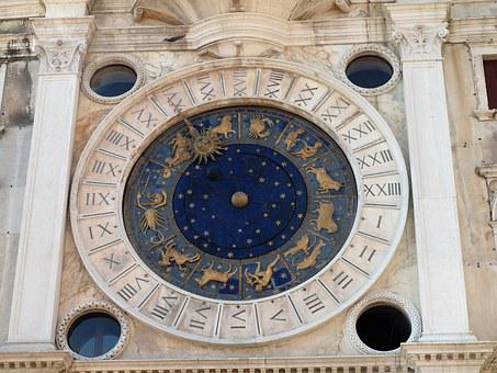 Italy, Venice, Saint Mark's Square, Clock, Horoscope