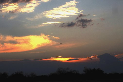 Clouds, Sections, White, Orange, Gold, Dark, Bright