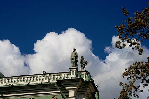 Winter Palace, Corner, Statue, Clouds, White, Blue Sky