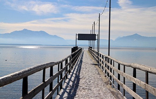 Chiemsee, Jetty, Water, Lake, Web, Icy, Winter, Pier