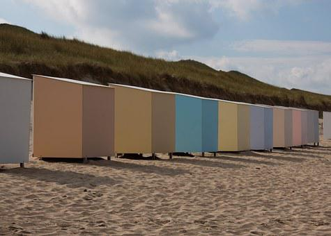Beach, Hut, Beach Hut, North Sea, Coast, Water, Leisure