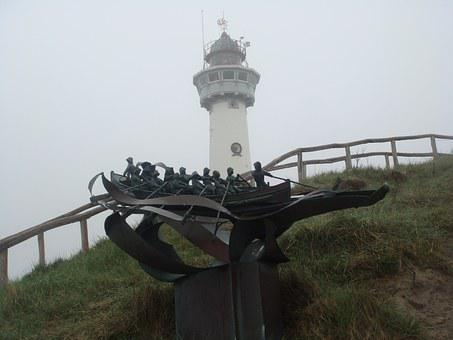Lighthouse, Hill, Grey, Statue, Boat, Rowers