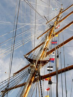 Logos, Frigate, Freedom, Ropes, Sky, Ocean, Water, Mast