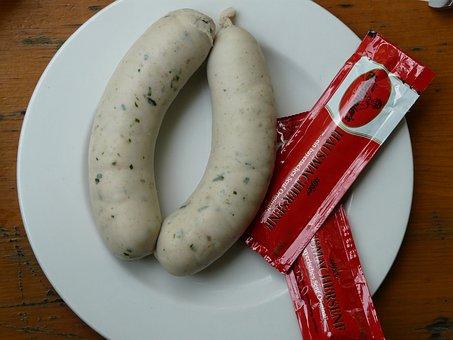 White Sausage, Bavaria, Sausage, Mustard, Food
