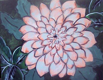 Dahlia, Pink, Flowers, Painting, Love, Romance, Gift
