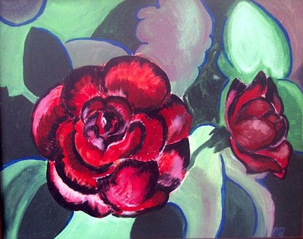 Red Rose, Flowers, Red, Painting, Love, Romance, Gift