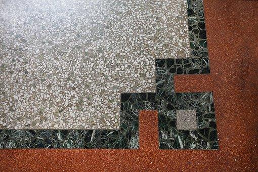 Estrazzo, Floor, Pebble Rug, Corners, Square, Grey