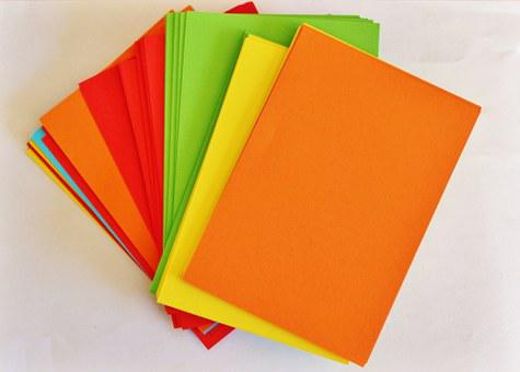 Paper, Colorful, Office, Orange, Yellow, Green, Red