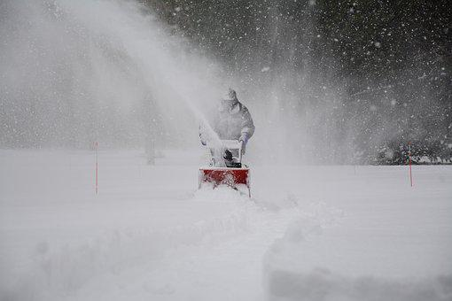 Snow Removal, Snowstorm, Driveway, White, Man, Cold