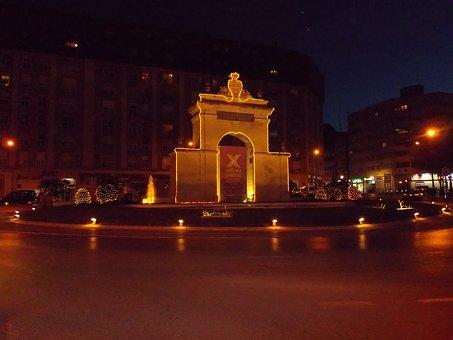 Valencia, Spain, Night, Evening, Lights, Lighting