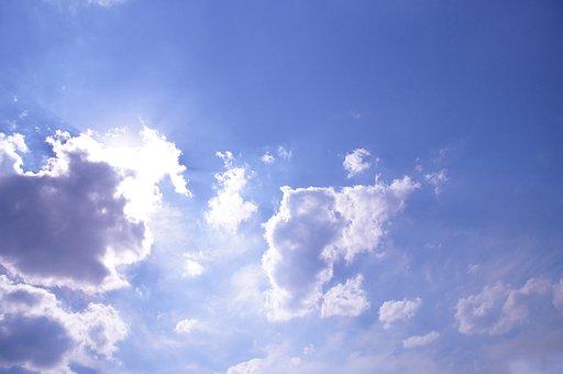Clouds, Sky, Blue, Cloudy, Sun, Sunshine, Summer, Mood
