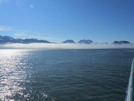 Lagoon, Water, Fog, Mountains, Seascape, Tourism
