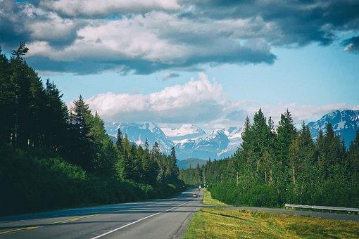 Alaska, Seward Highway, Road, Forest, Trees, Woods, Sky