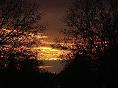 Sunset, Warm, Summer, Sky, Yellow, Blazing Orange