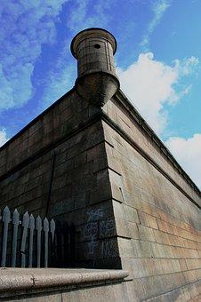 Wall, Tall, Strong, Grey, Corner, Watch Tower, Parapet