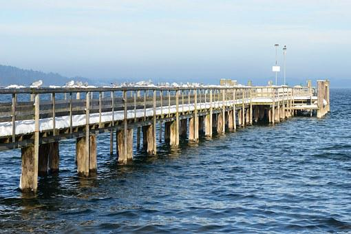 Snow, Winter, Water, Web, Jetty, Lake, Cold, Icy, Pier