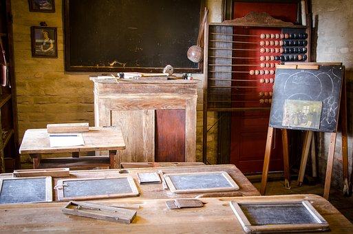 Antique, Classroom, Desk, School, Exercise Book, Worn