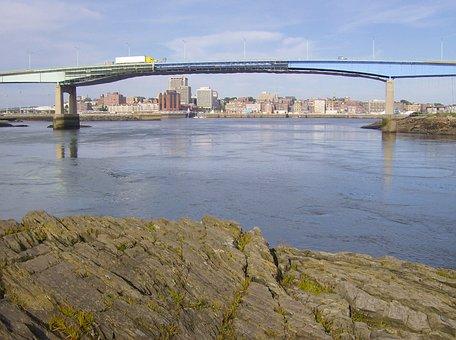 Saint John, New Brunswick, Sky, Clouds, Bridge, Bay