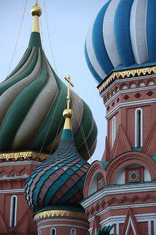 Russia, Moscow, Basilica, Architecture, Bulbs, Color