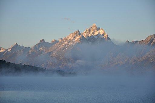 Mountains, Fog, Lake, Nature, Landscape, Cloudscape