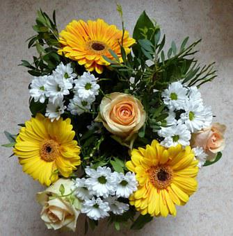 Bouquet, Roses, Gerbera, Chrysanthemums, Yellow, White