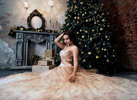 Glamour, Girl, Model, Christmas Tree, Room, Holiday