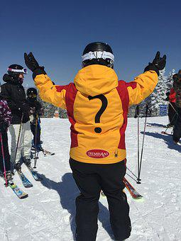 Person, Skier, Question, Back, Winter, Ski, Instructor