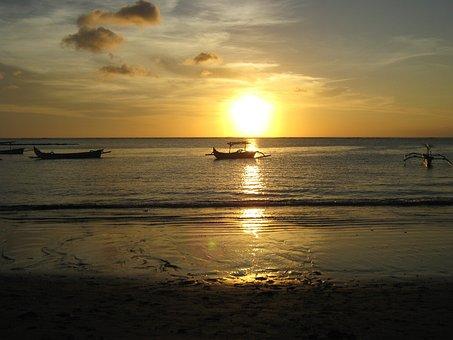 Beach, Sunset, Bali, Kuta, Ocean, Vacation, Tropical