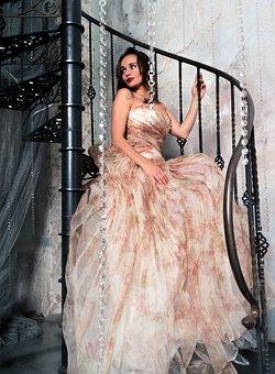 Ladder, Glamour, Girl, Model, Stairs, Dress, Beautiful