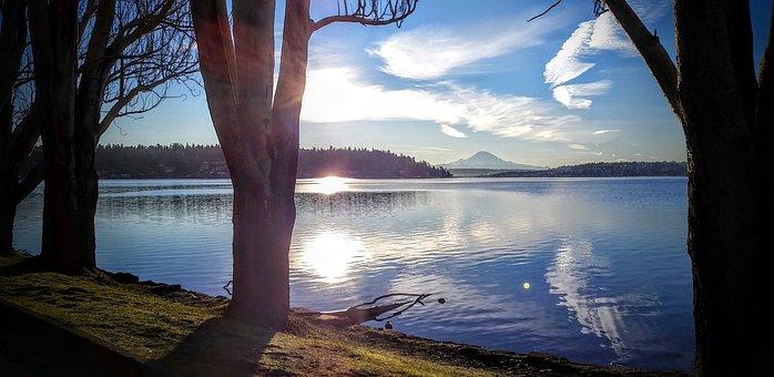 Seattle, Lake, Washington, Mountain, Rainier, Winter