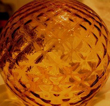 Glass, Amber, Patterned, Light Cover, Round, Orbital