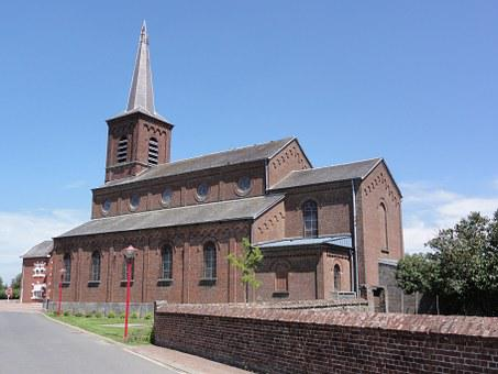 Beugnies, France, Church, Religious, Historic, Building