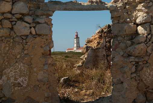 Portugal, Cape Espichel, Lighthouse, Ruins