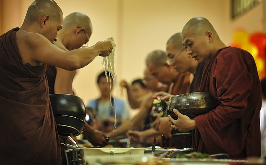 Theravada Buddhism, Sangha Taking Alms Food