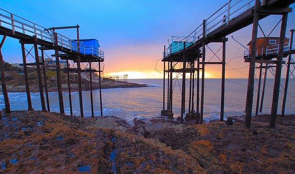 Sea, Maritime, Blue, Side, Fishing, Pontoon, Sunset