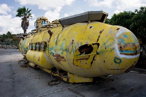 Submarine, Yellow, Old, Vintage, Graffiti, Spray Paint