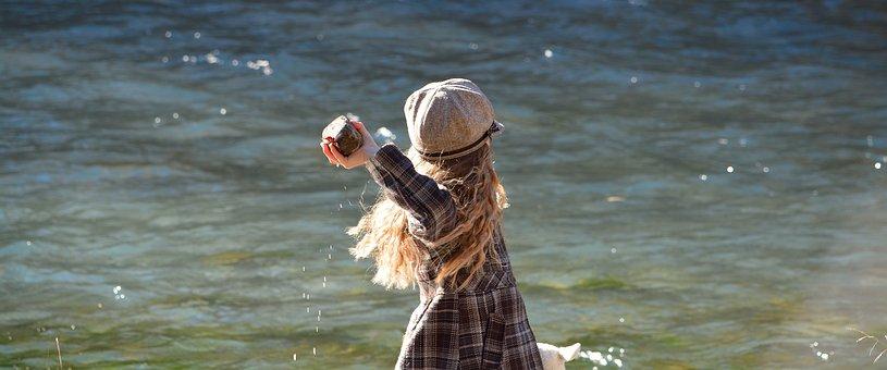 Child, Girl, Water, Stone, Throw
