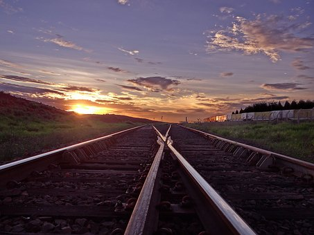 Train Line, Sky, Sunset, Road, Aparecida Do Taboado