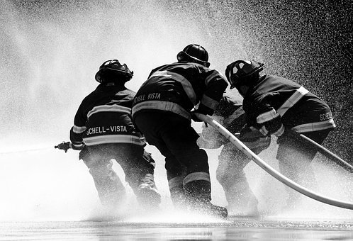 Firefighter, Sonoma, Water, Fire, Spray, Splash, Hose