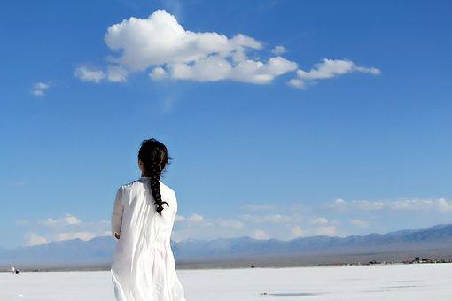 Blue Sky, Girls, White, Back, White Dress