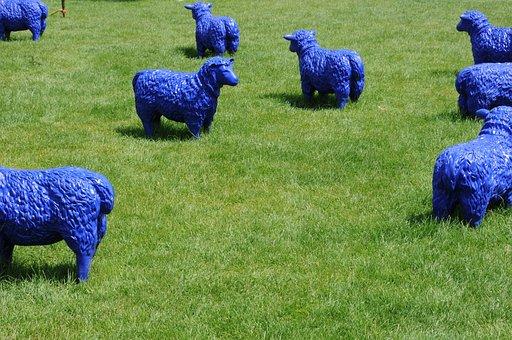 Sheep, Blue, Art, Pasture, Flock, Modern Art, Rush