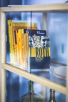 Books, Bookstand, Glass, Yellow, Library, Home