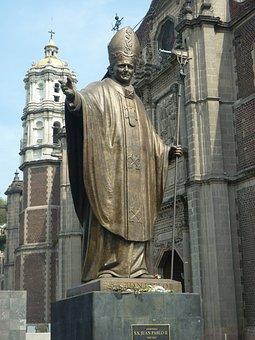 Statue, Pope, John Paul Ii, Catholic, Mexico, Religion