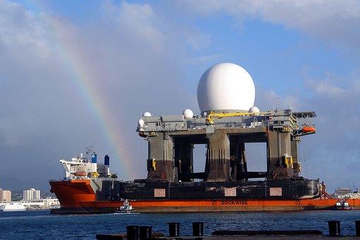 Rainbow, Sky, Clouds, Pearl Harbor, Hawaii, Ship
