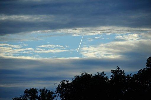 Sunset, Ammanford, Plane, Sky, Heavy Clouds, Trail