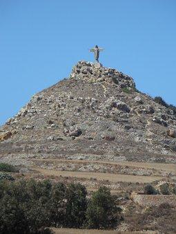 Mountain, Statue, Summit, Jesus, Gozo, Christianity