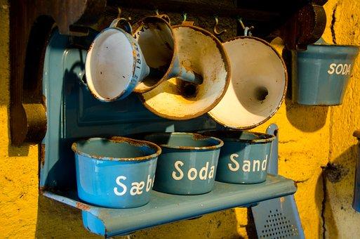 Antique, Kitchen, Blue, Madam Blue, Funnel, Soda, Salt